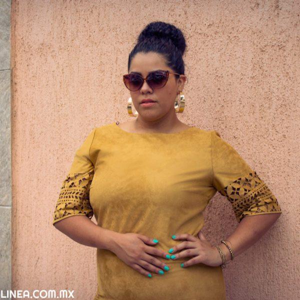 Curvy Trends: Vestido suede camel