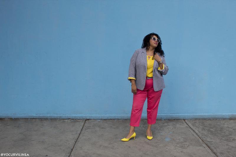 hacer divertido tu look, look curvy, look plus size, moda curvy, moda plus size, yo curvilínea, arhe molina, cropped pants, amarillo